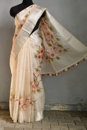 Cream organza hand painted saree