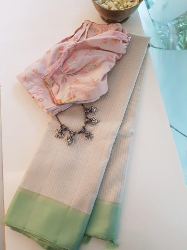 Cream with pistachio green checks zero zari kanchi silk saree