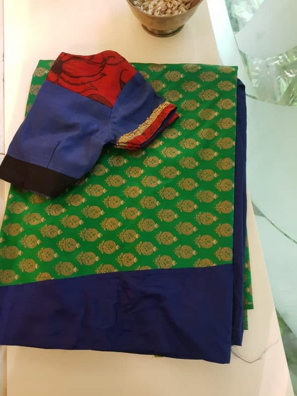 Dark blue silk and green benarasi fusion saree
