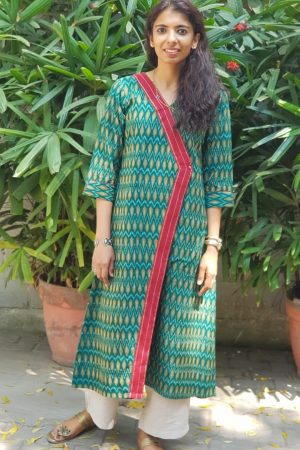 Dark green ikat kurta 1