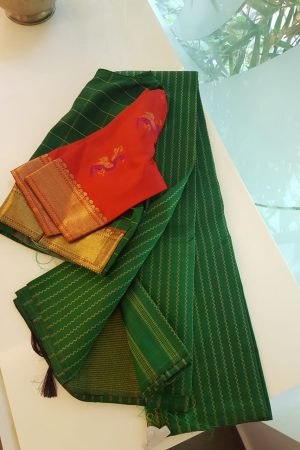 Dark green vanki design kanchi silk saree
