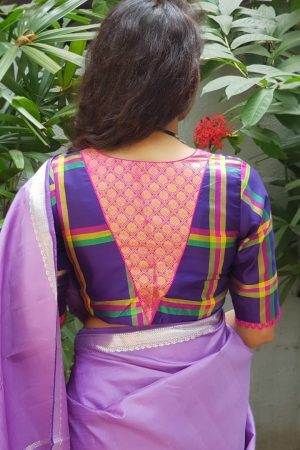 Deep purple kanchi silk checks blouse back