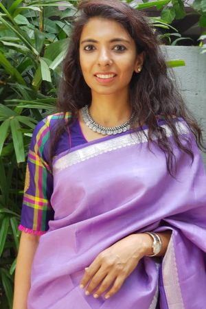 Deep purple kanchi silk checks blouse front