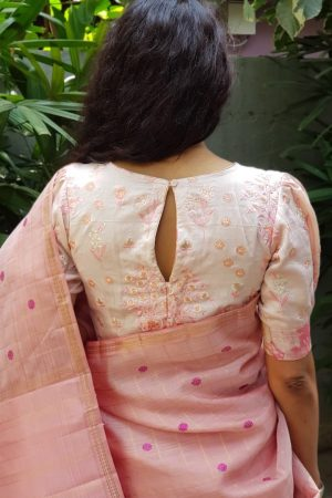Dusty pink embroidered silk blouse back