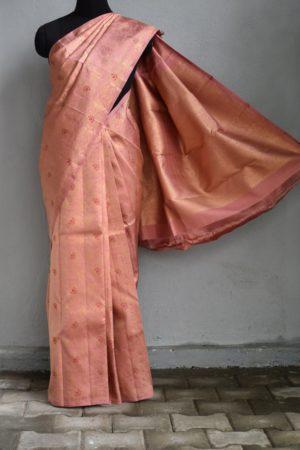 Dusty pink kanchi silk saree with zari brocade 2