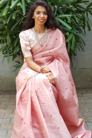 Dusty pink kattam butta kanchi organza silk saree 2
