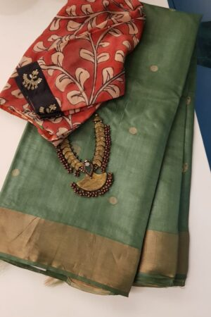 Green hand woven tussar saree