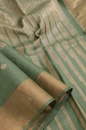 Green hand woven tussar saree1