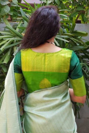 Green kanchi silk blouse back