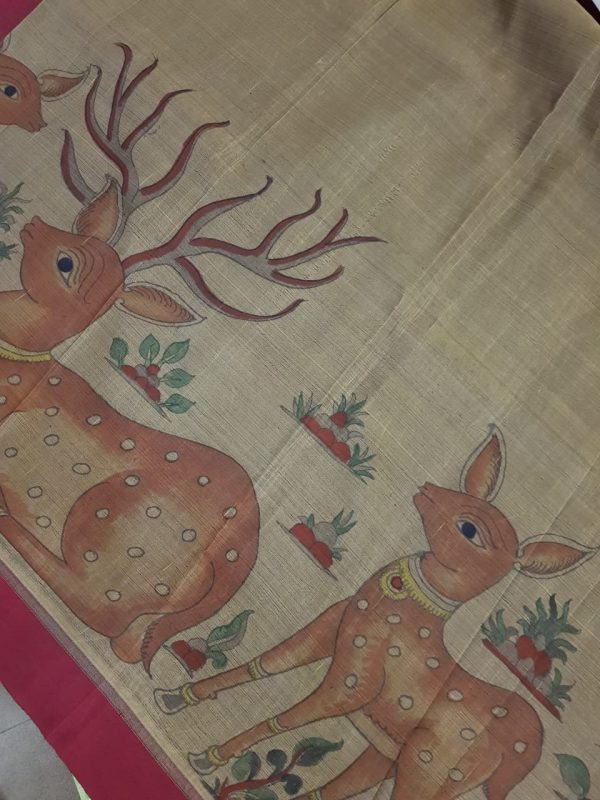 Greige kancheepuram silk saree with deer kalamkari 1