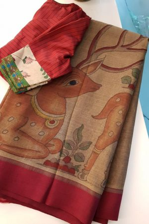 Greige kancheepuram silk saree with deer kalamkari 2