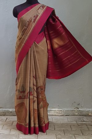 Greige kancheepuram silk saree with deer kalamkari