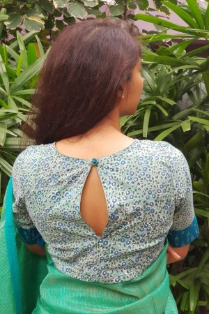 Grey blue printed cotton blouse