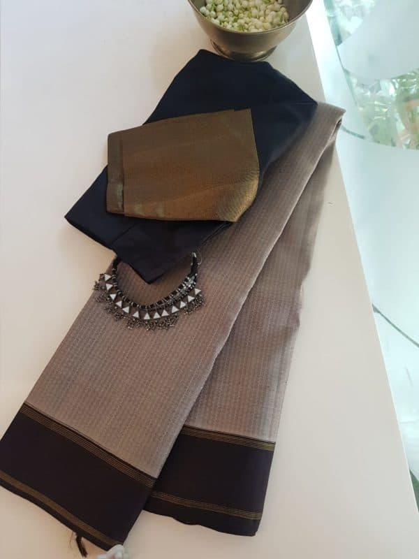 Grey thread jacquard kanchi silk saree with black border 2