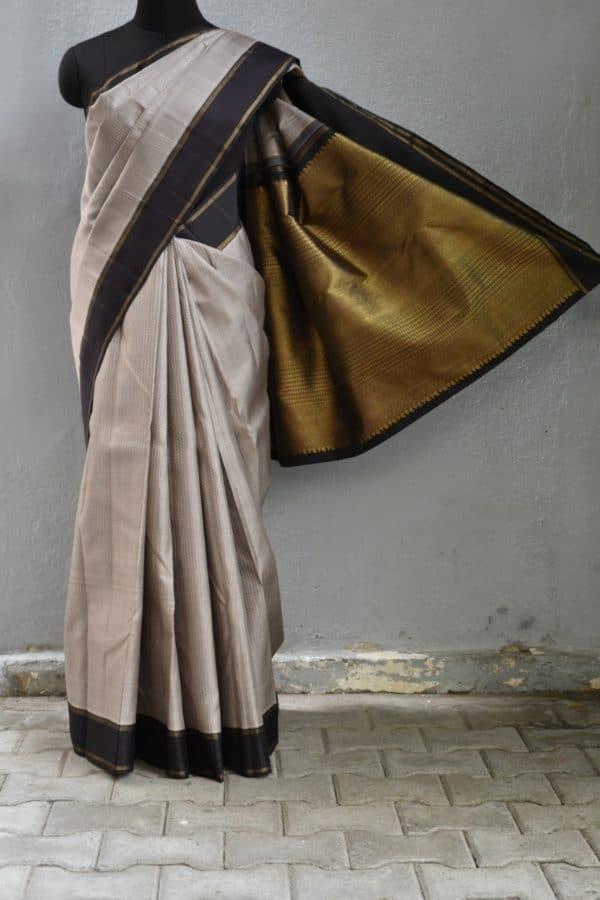 Grey thread jacquard kanchi silk saree with black border