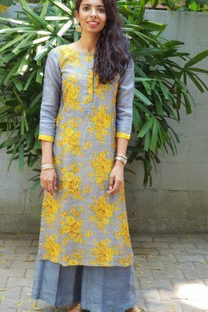 Grey yellow floral print tussar kurta