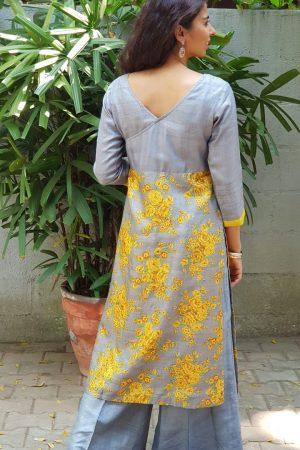 Grey yellow tussar floral print kurta