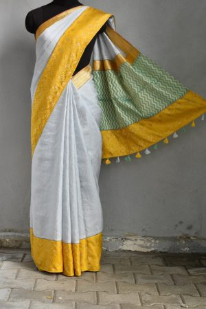 Grey ywllow linen saree