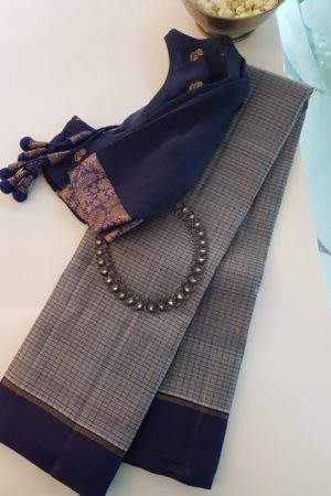 Grey zero zari kanchi silk saree with navy border