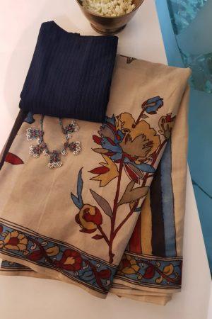 Hand painted kalamkari cotton saree 1