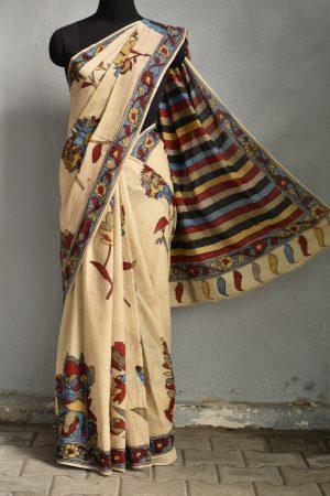 Hand painted kalamkari cotton saree