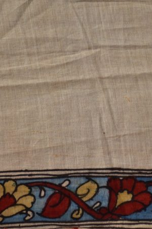 Hand painted kalamkari cotton saree blouse