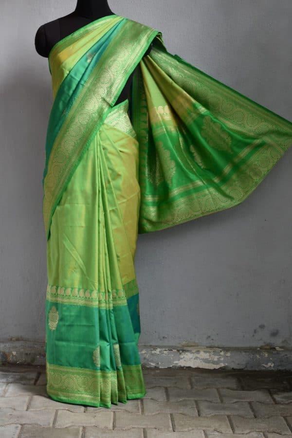 Lemon green benarasi handloom silk saree