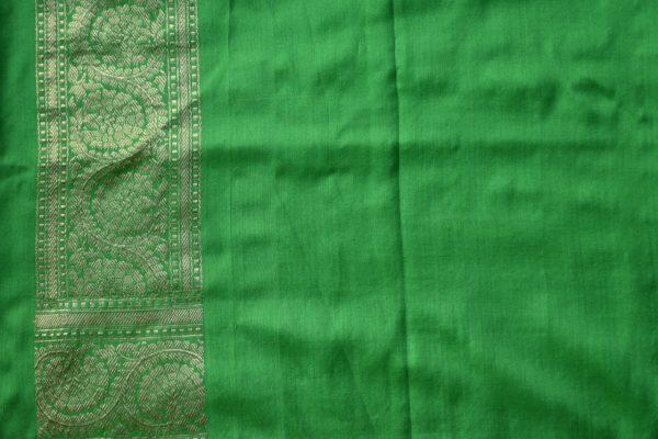 Lemon green benarasi handloom silk saree blouse