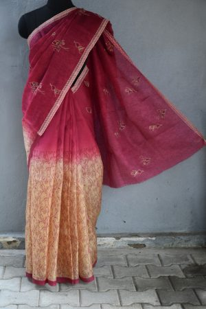 Maroon beige embroidered organza saree 2