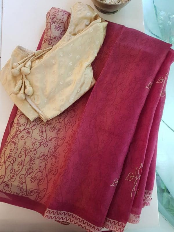 Maroon beige embroidered organza saree