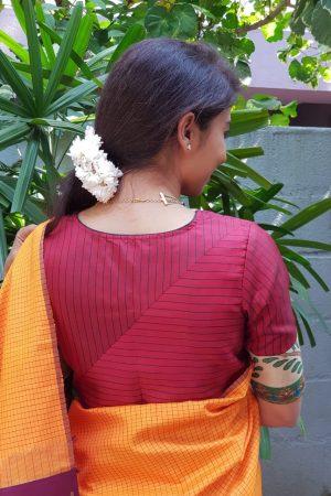 Maroon silk kalamkari blouse sback