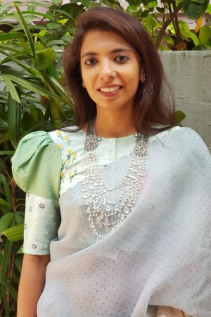 Mint green embroidered tussar blouse