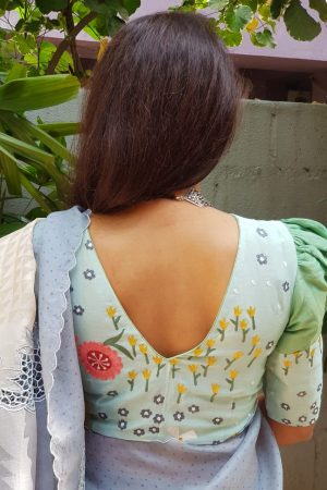 Mint green embroidered tussar blouse back