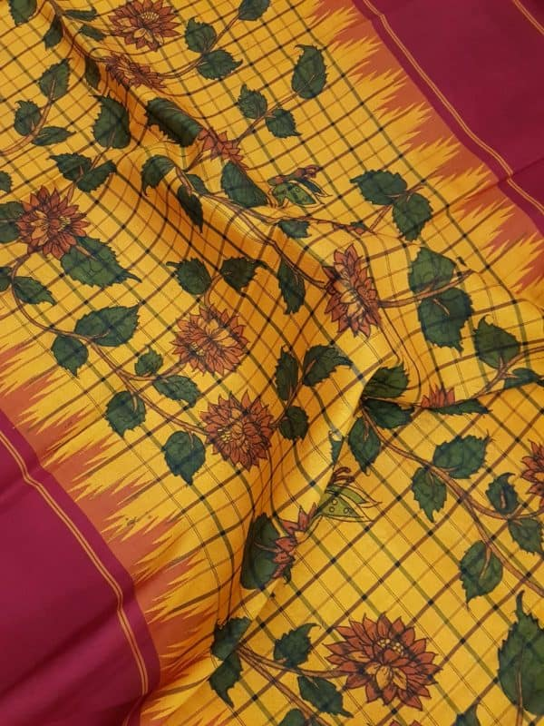 Mustard black checks kanchi silk saree with korvai maroon border and kalamkari 1