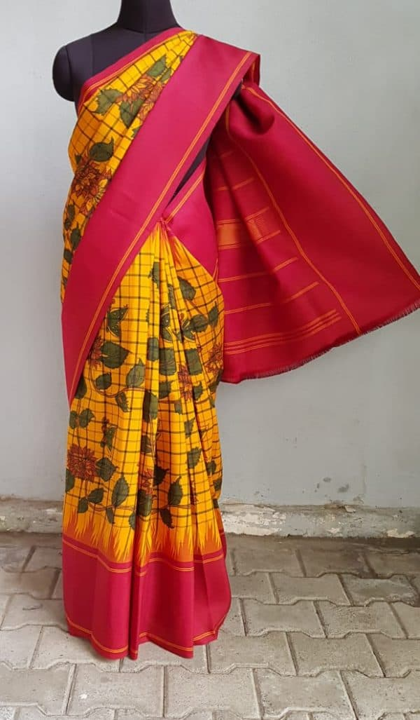 Mustard black checks kanchi silk saree with korvai maroon border and kalamkari 2