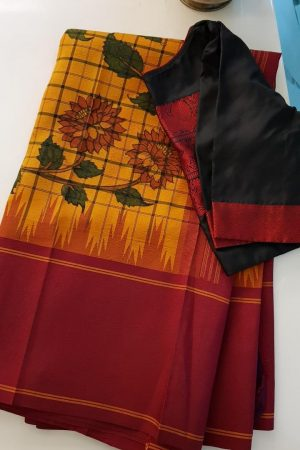 Mustard black checks kanchi silk saree with korvai maroon border and kalamkari
