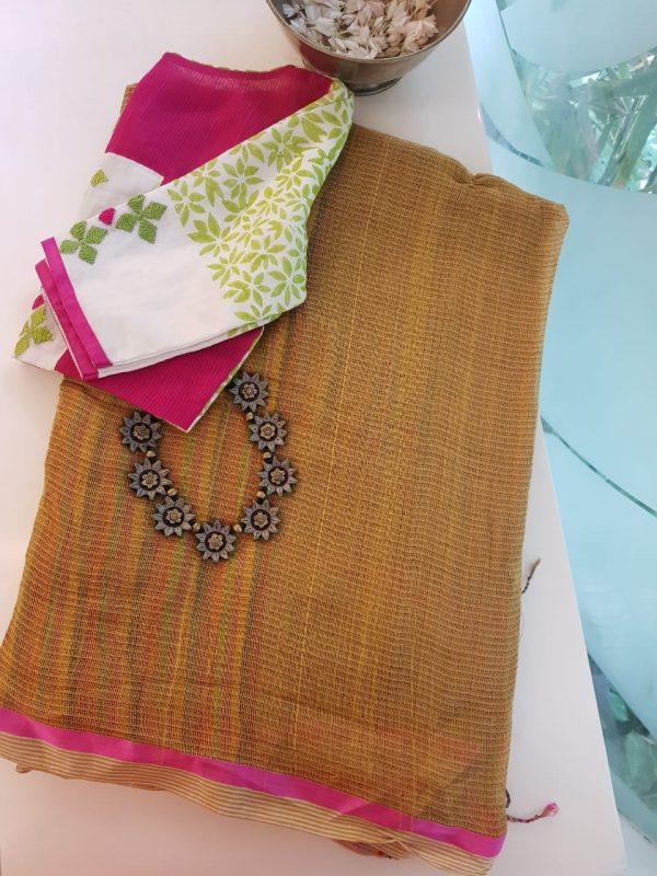 Mustard handloom cotton saree with multicolour pallu