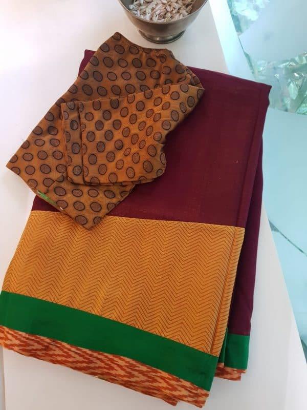 Mustard kanchi silk and maroon matka fusion saree