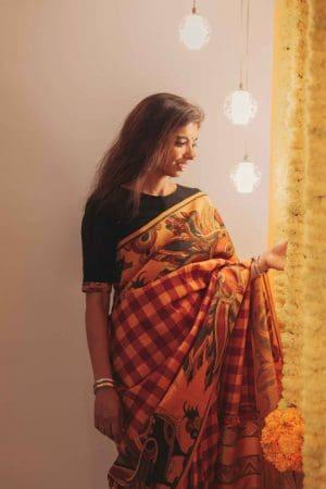 Mustard red checks kanchi silk saree with kalamkari and korvai border 1