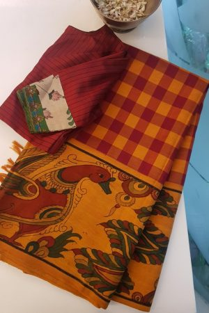 Mustard red checks kanchi silk saree with kalamkari and korvai border