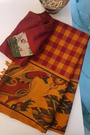 Mustard red checks kanchi silk saree with kalamkari and korvai border
