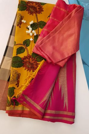 Mustard with black and white checks kalamkari kanchi silk korvai saree 1