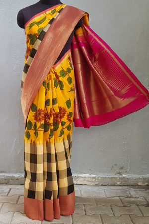 Mustard with black and white checks kalamkari kanchi silk korvai saree