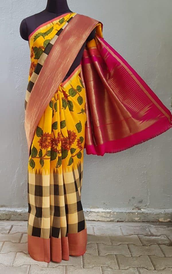 Mustard with black and white checks kalamkari kanchi silk korvai saree