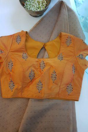 Mustard zari butti raw silk blouse