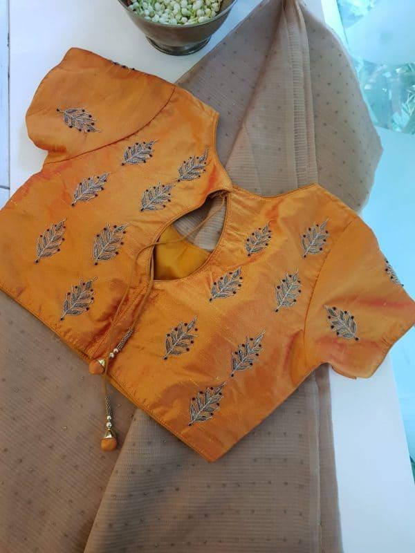 Mustard zari butti raw silk blouse bak