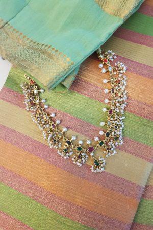 Navratna gold plated silver necklace