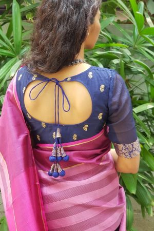 Navy blue tussar blouse