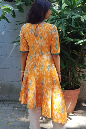 Orange ikat asymmetric kurta 1