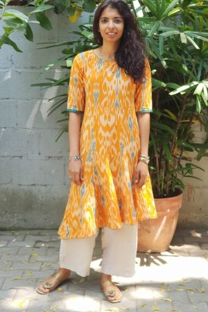 Orange ikat asymmetric kurta